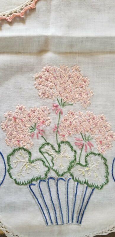 Vtg Lot Of 3 Dresser Linens Table Runner, pink