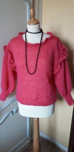 Magnifique pull femme tricoté main 40-42 mohair 70% fuchsia