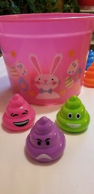 Pink Easter Bucket With A Variety Of Eggs From Poop Emoji, Animals And Colors.](Halloween Emoji Animated)