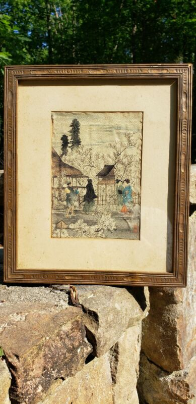 ANTIQUE JAPANESE WATERCOLOR ON PAPER PAINTING DEPICTING YOUNG GEISHAS W TREES