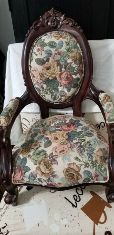 Reproduction of a victorian wooden doll  child chair.