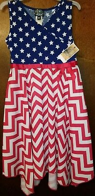 Girls Red White Blue Stars Strips Dress Red Ribbons Bow 6X Pink & Violet School ()