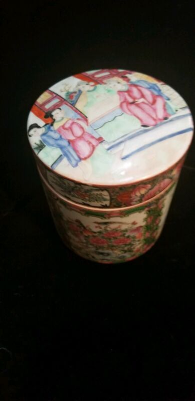 Rose Medallion Chinese Mandarin Container/Tea Caddy