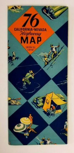 Union Oil Company 76 1934 Road Map California - Nevada - Vintage
