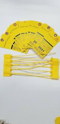 2021 Yellow Fire Extinguisher Inspection Card Safety Seal Tag Office 10 Pieces