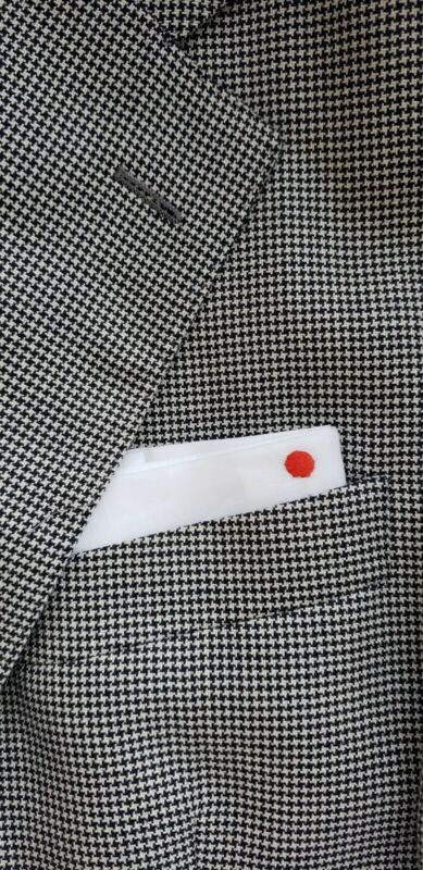 Kiton White Pocket Square with Signature red dot