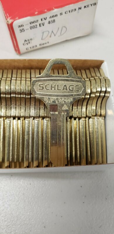 Schlage Everest  35-002 EV 468 S C123 N 6 Pin Key Blanks Box of 26 DND