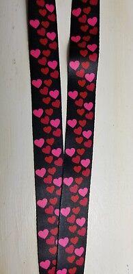 Hearts Lanyard (Hearts on Black Lanyard w/ I.D. Badge Holder + Retractable Clip Breakaway  )