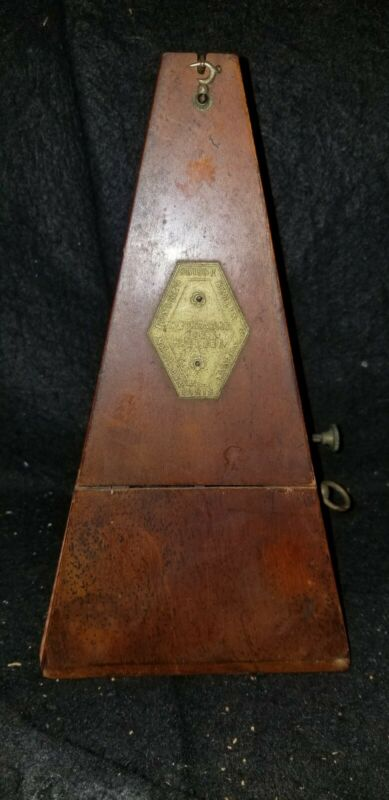 ANTIQUE METRONOME DE MAELZEL WOOD WITH BELL WORKS WELL!