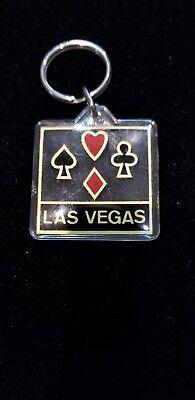 Vintage LAS Vegas Key Chain Ring Hong Kong Cards Suites Plastic