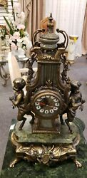Antique Imperial Brevettato Ornate Brass and Marble Franz Hermle Mantle Clock