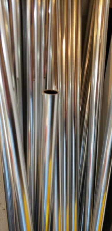 "Aluminum Round Bright Anodized Tubing - 7/8"" OD x 40"" Long NEW"