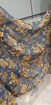 "1M Versace desigen TEAL/GOLD FLORAL CHAIN GLITER DRESS CHIFFON FABRIC 45"""