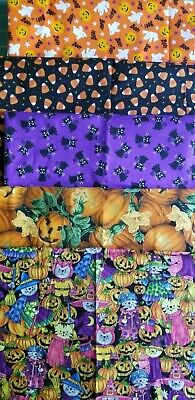 Lots Of Halloween Candy (5 Halloween Cotton Fabric Cats Candy Corn Pumpkins Witches Orange Purple, 3+)