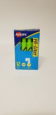 Avery® Hi-Liter® Desk-Style Highlighters, Fluorescent Green, Box Of 12 Avery Hi Liter Fluorescent