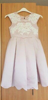 Monsoon Dusky Pink Satin Feel Dress Age 11 Dusky Pink Satin