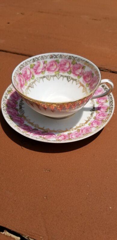 MZ AUSTRIA PORCELAIN PINK ROSES TEA SET 1870-1920