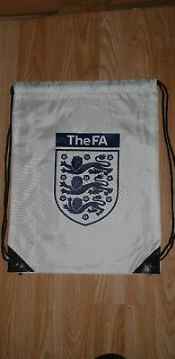 England FA waterproof Draw string bag sack White Navy gym Sport Football Soccer