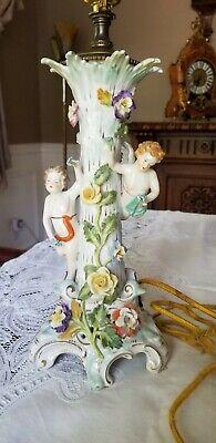 Vintage Carl Thieme Dresden Porcelain Electrified Lamp Cherubs Flowers