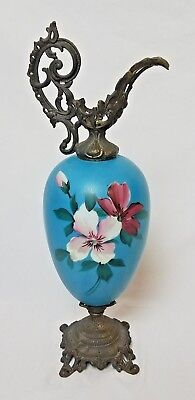 19th Century Pitcher Blue Floral Handpainted Aesthetic Movement Art Decorative