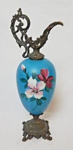 Floral Blue Antique Ewer Urn Vase Pitcher - Hand Painted Porcelain Art Decor