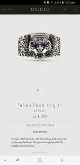 Gucci Feline head ring in silver