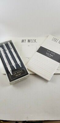 Rae Dunn Ink Pen Set List Pad Weekly Desk Pad Bundle Lot.. New