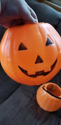 Vintage Jack-o'-Lantern Pumpkin Blow Mold Trick Or Treat Pail Basket
