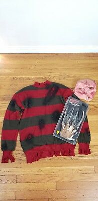 Freddy Kruger Complete Mens Halloween Costume- Include Sweater, Glove & mask...