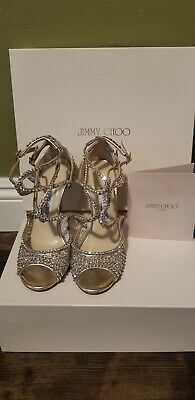Authentic Jimmy Choo Sandals Falcon Crystal Mesh Rhinestones 37 Great Condition!