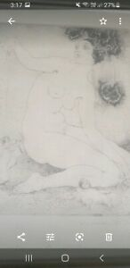 Norman Lindsay Watercolour Print. Naked lady. And other printed sketch