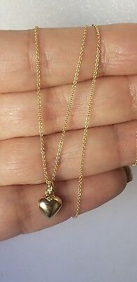 real 14k yellow gold small heart pendant charm and chain set necklace valentine