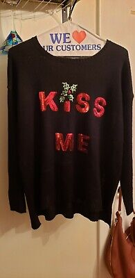 Women's 89th & Madison Black Long Sleeve Christmas Sweater Sequined Red Kiss Me ()