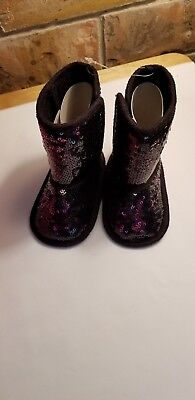 Infant Girls Stepping Stones Black & Purple Crib Boots With Sequins, Size 6-9Mos - Girls Purple Sequin Boots