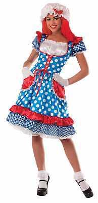 Rag Doll Lady Costume Dress Raggedy Ann Clown Adult Women Standard 14/16 - Raggedy Ann Doll Costume