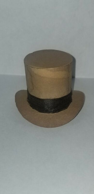 ANTIQUE DRESDEN PAPER TOP HAT CANDY CONTAINER CHRISTMAS ORNAMENT SILK LINING