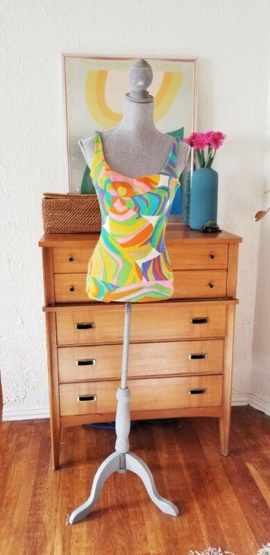 Vintage 60s Swimsuit Psychedelic Dress Bathing Suit Mod Pucci One Piece XS S M