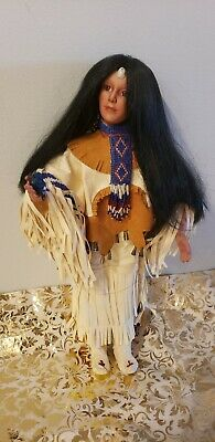 J. Belle Native American Woman Porcelain Doll with bird 16
