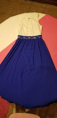 Girl, B Wear Girl, White Top,Royal Blue Long Dress For A Dance With Rhinestones. - Ballroom Dresses For Girls
