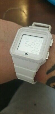 Mens Adidas white lcd watch