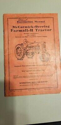 International Farmall Mccormick Deering H Tractor Instruction Manual Operators