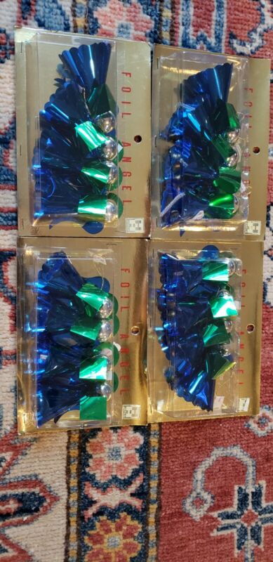 4 Boxes Vintage Holt Howard Christmas Ornaments Foil Angels Sealed
