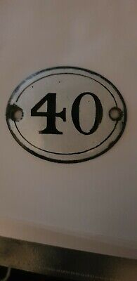 Original Vintage Enamel Number Door Gate Sign Plaque White Black French 40