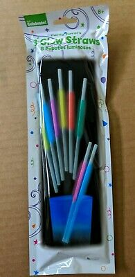 24 Glow Straws -Drinking Glow in The Dark Straws - THREE PACKS OF 8 STRAWS EACH