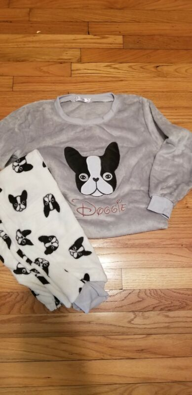 Boston Terrier French Bulldog Ladies Pajamas 2 piece lounger set Dog 3 sizes