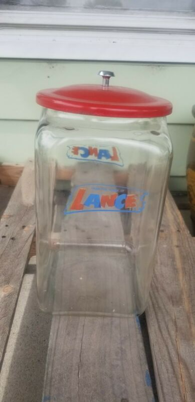 VINTAGE glass LANCE TALL STORE COUNTER DISPLAY cookie cracker JAR 14.5""