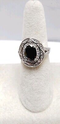 Real 925 Silver Ring for Women Black Sapphire & Paved CZ Ring Size 7 Authentic