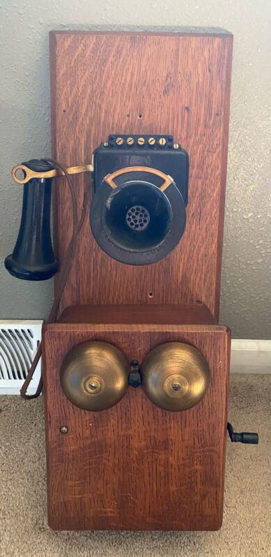 Antique Vintage Walnut Wood Double Box Wall Telephone 📞 Info On Paper In Pic