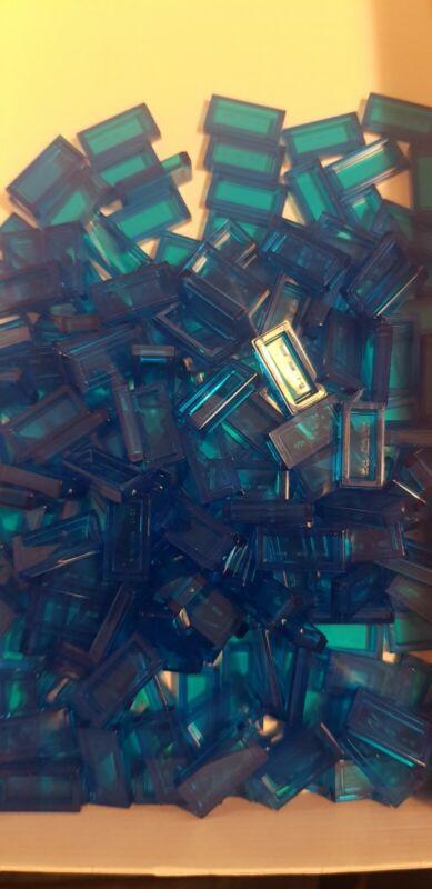 LEGO+200+x+Trans+Blue+1x2+Tile+%283069b%29+-+Brand+New.+City%2FSea%2FIce