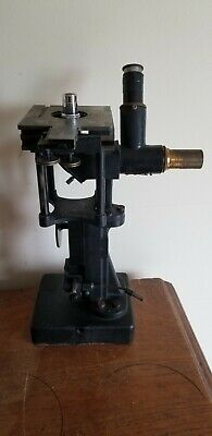 Vintage Bausch Lomb Brass Microscope W Locking Wood Case Extra Lenses - Rare